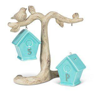 Birdhouse Ceramic Salt & Pepper Shakers on Branch